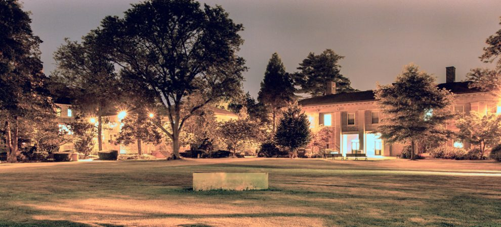 A Hofstra quad on South Campus at night.