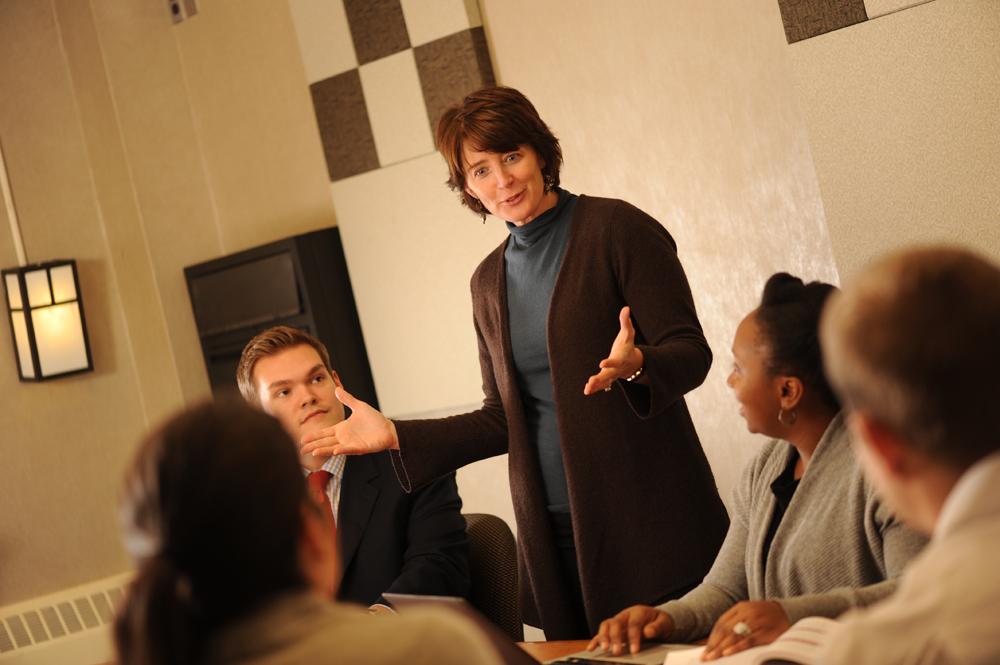 Jennifer Gundlach delivers a lecture.