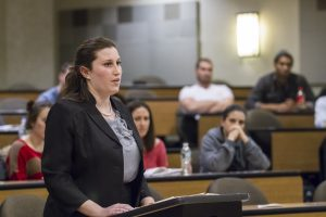 A student speaks at the Moot Court Competition.