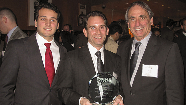 Putnam County District Attorney Adam B. Levy '92 (middle), the 2013 Public Justice Foundation Outstanding Alumnus Award honoree , with Dean Eric Lane (right) and Public Justice Foundation President Kamran Yaghoubzadeh 3L at the annual In Honor of Justice alumni reception on January 30, 2013, in New York City.