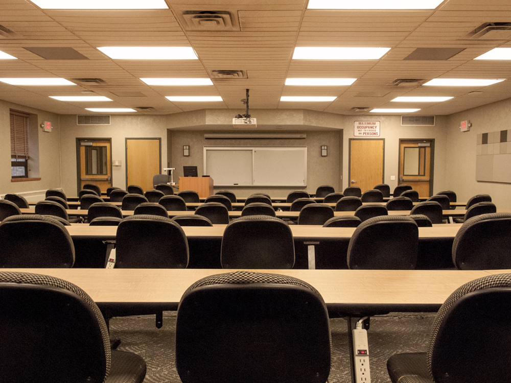 A lecture hall inside the Hofstra Law building.