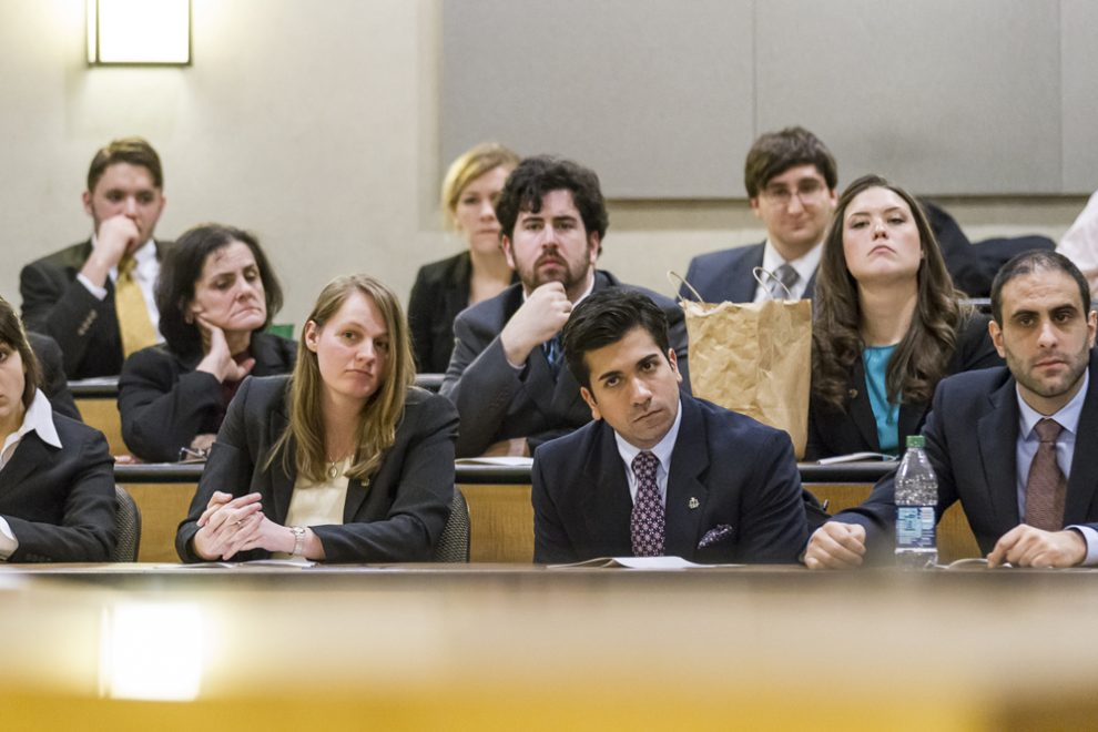 A student panel during a moot court competition.
