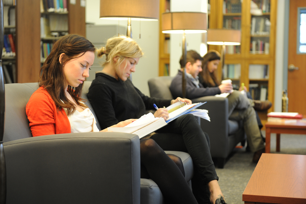 Students actively studying in the library lounge.
