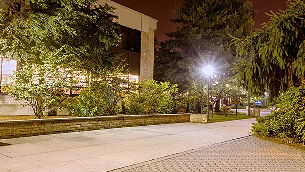 A walkway near the law school on a Summer night.