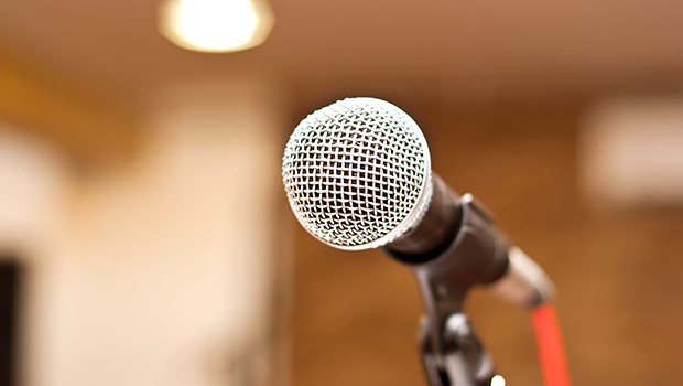 A microphone on a podium.