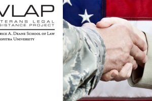 Image for the Hofstra Law Veterans Legal Assistance Project's free Legal Clinic, including a photo of a soldier shaking hands with another person wearing a suit (to represent a lawyer)