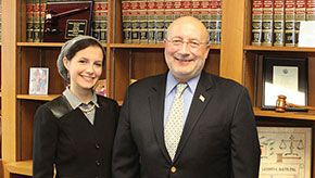 Photo of student and the judge