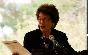 Judge Kaye at the New York State Leadership Summit on School-Justice Partnerships held at Hofstra Law in April 2013.