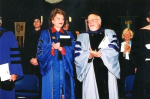 Judge Kaye with President Rabinowitz at Hofstra Law's spring Commencement in 2001.