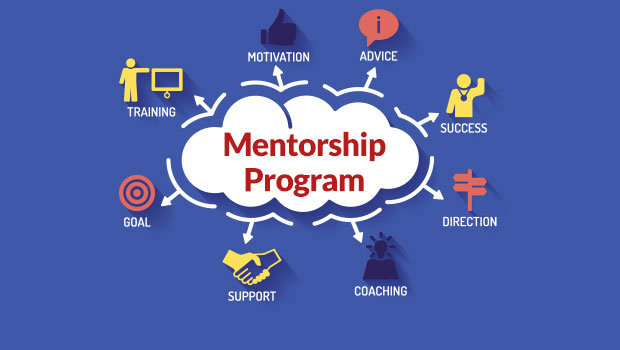 Mentorship Program graphic (blue background)