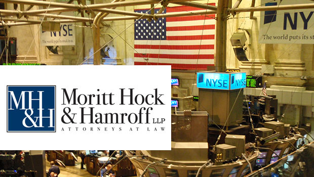 Photo of the New York Stock Exchange and the name of the law firm Moritt, Hock & Hamroff