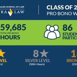 An infographic about the total hours of pro bono service by the Class of 2016