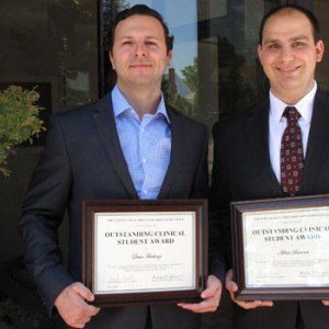 Hofstra Law 2016 CLEA Outstanding Student Award Recipients Dean Ferdenzi and Adam Solomon With Their Award Certificatess