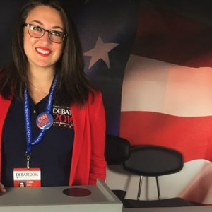 Photo of Hofstra Law student Deanna Wolf volunteering at the first 2016 presidential debate, hosted by Hofstra University