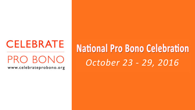 Official banner for National Pro Bono Week Celebration 2016