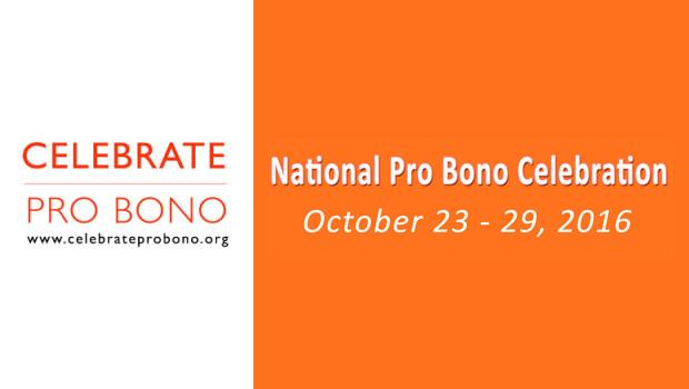 Official banner for National Pro Bono Week Celebration 2016