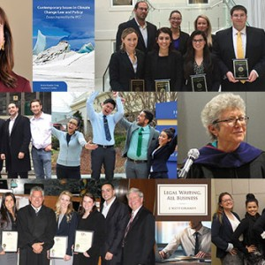 A collage of photos of notable events and achievements at Hofstra Law in the 2015-16 academic year