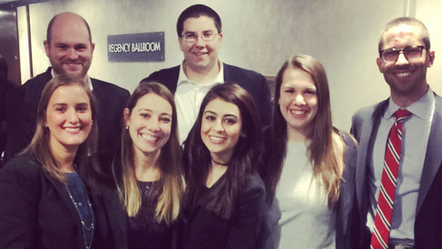 Photo of Hofstra Law Mock Trial Team for the 2016 Buffalo-Niagara Mock Trial Competition: Elida Alfaro 2L, Sean Brucker 3L, Dylan Nesturrick 2L and Mishal Pahrand 3L and coaches