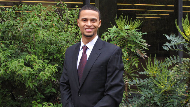 Photo of Hofstra Law student Matthew Goodison-Orr outside the Law School