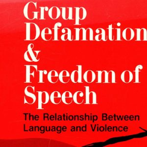 "Illustration of the poster for the 1988 Hofstra Law legal symposium ""Group Defamation & Freedom of Speech: The Relationship Between Language and Violence"""
