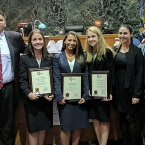 Photo of Hofstra Law's Mock Trail Team and Coaches, winners of the Fall 2017 Queens County District Attorney's 4th Annual Mock Trial Competition
