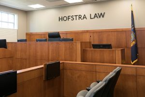 Photo of the Weitz & Luxenberg Trial Courtroom at Hofstra Law, which is updated with the latest advancements in courtroom technology