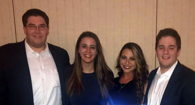 Photo of the Hofstra Law 2017 Buffalo-Niagara Mock Trial Competition team: (left to right) Dylan Nessturick 3L, Gabriella Malfi 3L, Elizabeth Johannesen 2L and Ryan Nelson 3L