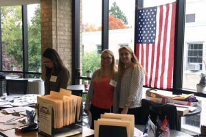 Photo of three of the Hofstra Law student volunteers for the Nov. 5, 2017, Veterans Legal Clinic conducted by the Veterans Legal Assistance Project, also known as VLAP