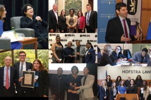 A collage of eight photos of notable events at Hofstra Law during the 2016-2017 academic year