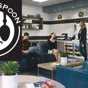 Logo and interior photo of Hofstra Law's 24/7, cashier-less market, Gavel + Spoon