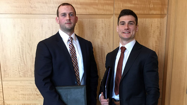 Photo of Hofstra Law students John Zepka and Benjamin Danieli, both Class of 2019, quarterfinalists at the 2018 National Basketball Negotiation Competition, sponsored by the Fordham Sports Law Forum