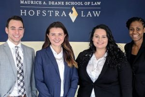 Photo of First-year Hofstra Law students (from left to right) Aaron Shubert, Kayla Scoccola, Amy Elsayed and Cadine Bramwell, recipients of a 2018 New York City Bar Diversity Fellowship