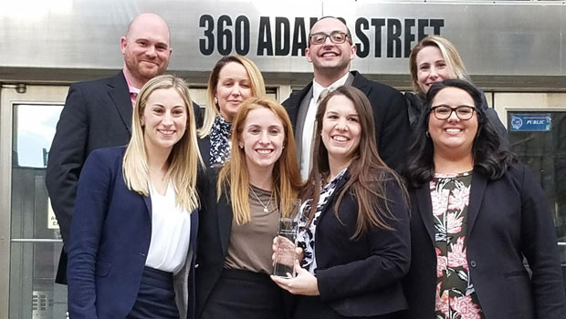 Photo of Hofstra Law Mock Trial Team and Coaches, winners of the New York Regional of the American Association for Justice 2018 Student Trial Advocacy Competition