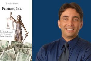 "Photo of J. Scott Colesanti, Professor of Legal Writing at Hofstra Law, with the cover of his third book, ""Fairness, Inc.: The Origins (and Billion-Dollar Bonuses) of Rule 10b-5 as America's Insider Trading Prohibition"""