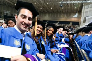 Photo of members of the Hofstra Law Class of 2017 at the Commencement Ceremony on May 22