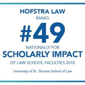 Graphic depicting the Hofstra Law Faculty's No. 49 Rank for Scholarly Impact in 2018