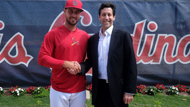 Photo of Hofstra Law alumnus Burton Rocks '97 with his client, St. Louis Cardinals baseball player Paul DeJong. Photo credit: Scott Rovak