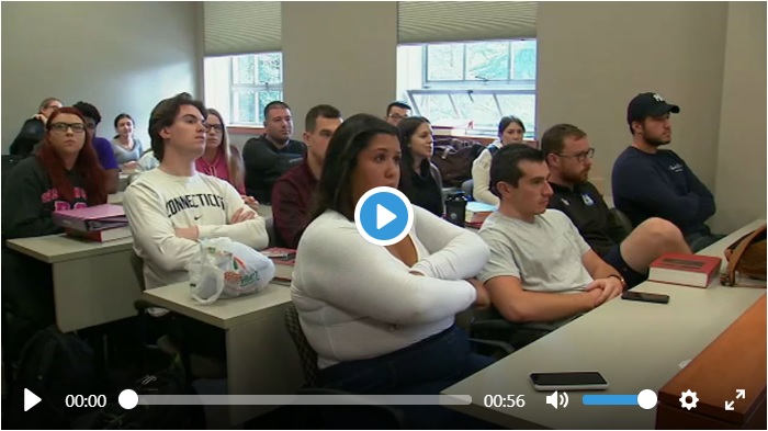 Screen shot of the beginning of a Sept. 27, 2018, ABCNY7 report about Hofstra Law students in Professor James Sample's class watching Dr. Christine Blasey Ford and Supreme Court nominee Judge Brett Kavanaugh were testifying before the Senate Judiciary Committee that day