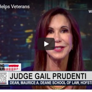 "Screen shot of of Judge Gail Prudenti, dean, during a Nov. 1, 2018, PBS MetroFocus report, titled ""Hofstra Helps Veterans,"" about Hofstra Law's Programs to Assist Military Veterans"