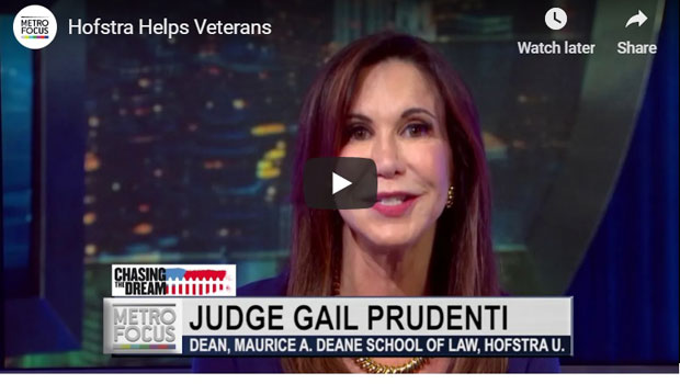 """Screen shot of of Judge Gail Prudenti, dean, during a Nov. 1, 2018, PBS MetroFocus report, titled """"Hofstra Helps Veterans,"""" about Hofstra Law's Programs to Assist Military Veterans"""