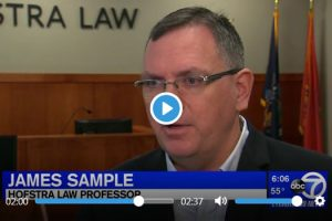 Screen shot of of Professor James Sample of Hofstra Law commenting during an Oct. 30, 2018, ABCNY7 Eyewitness News report on President Donald Trump's proposed plan to end birthright citizenship by executive order