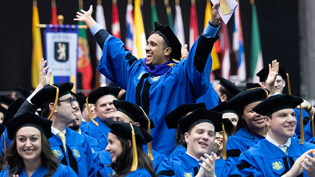 Photo of members of the Hofstra Law Class of 2018 at the Commencement Ceremony on May 21