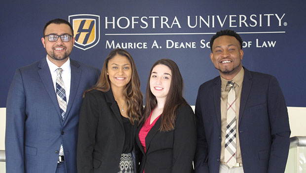 Photo of first-year Hofstra Law students (from left to right) Jacob Manzoor, Dawn Sudama, Faith Pappalardo, and D'Andre Chapman, recipients of a 2019 New York City Bar Diversity Fellowship