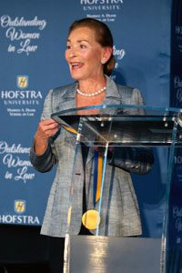 """Photo of Judge Judy Sheindlin, former Manhattan Family Court Supervising Judge and star of """"Judge Judy,"""" recipient of a Lifetime Achievement Award and Hofstra University's Presidential Medal at the 2019 Hofstra Law Outstanding Women in Law Awards Reception"""