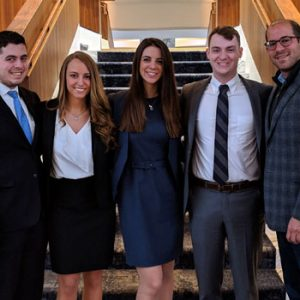 Photo of Hofstra Law trial advocacy team of Michael Grazio 2L, Cara Pascarella 2L, Gabriella Malfi 3L and Ryan Donahue 2L for the 2019 South Texas Mock Trial Challenge and their coach, Jared Rosenblatt '03