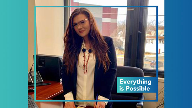 Photo of Hofstra Law second-year student Barbara Blaszczyk in an office at the real estate management company Neptune Associates, where she worked as an extern during the spring 2019 semester