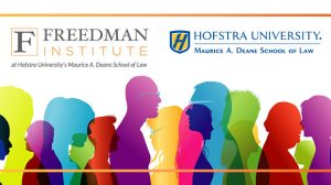 "Illustration for the Nov. 8, 2019 conference ""Leading Differently Across Difference: A National Conference on Training Lawyers as Leaders,"" including the Hofstra Law and Freedman Institute logos"