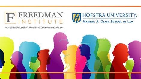 """Illustration for the Nov. 8, 2019 conference """"Leading Differently Across Difference: A National Conference on Training Lawyers as Leaders,"""" including the Hofstra Law and Freedman Institute logos"""