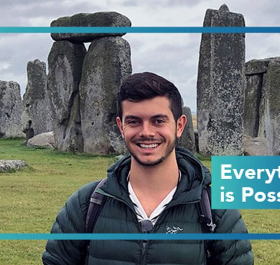 Photo of Hofstra Law second-year student Zachary Cardillo visiting Stonehenge in summer 2019 while in England for an internship with Ardens Solicitors in London through Hofstra Law's Global Legal Practice Externship Program